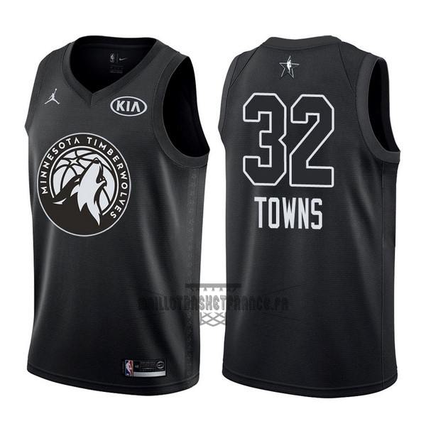 Meilleur Maillot NBA 2018 All Star NO.32 Karl Anthony Towns Noir