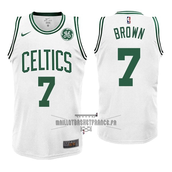 Meilleur Maillot NBA Enfant Boston Celtics NO.7 Jaylen Brown Blnaco 2017-18