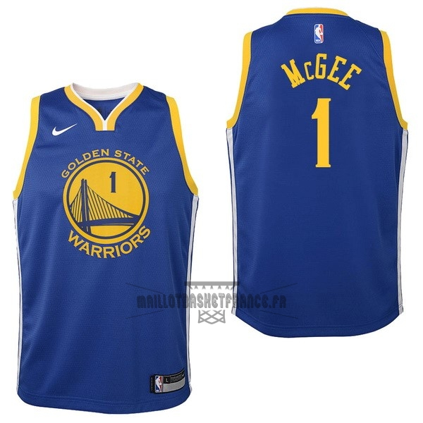 Meilleur Maillot NBA Enfant Golden State Warriors NO.1 JaVale McGee Bleu Icon 2017-18