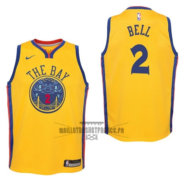 Meilleur Maillot NBA Enfant Golden State Warriors NO.2 Jordan Bell Nike Jaune Ville 2017-18