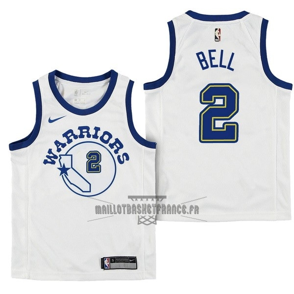 Meilleur Maillot NBA Enfant Golden State Warriors NO.2 Jordan Bell Nike Retro Blanc 2017-18