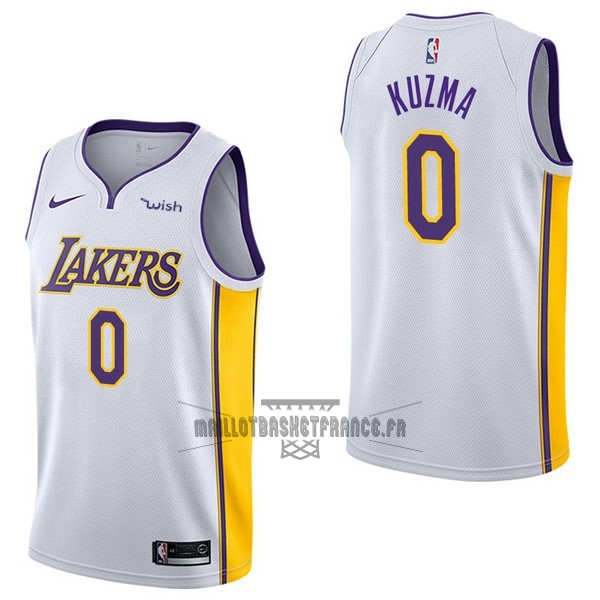 Meilleur Maillot NBA Enfant Los Angeles Lakers NO.0 Kyle Kuzma Blanc 2017-18