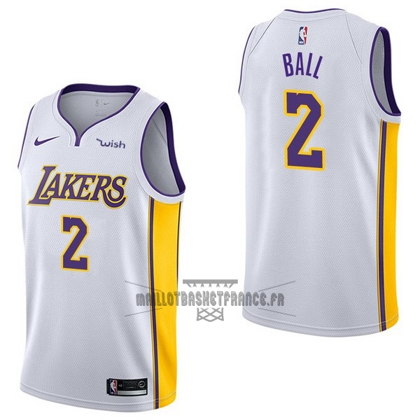 Meilleur Maillot NBA Enfant Los Angeles Lakers NO.2 Lonzo Ball Blanc 2017-18