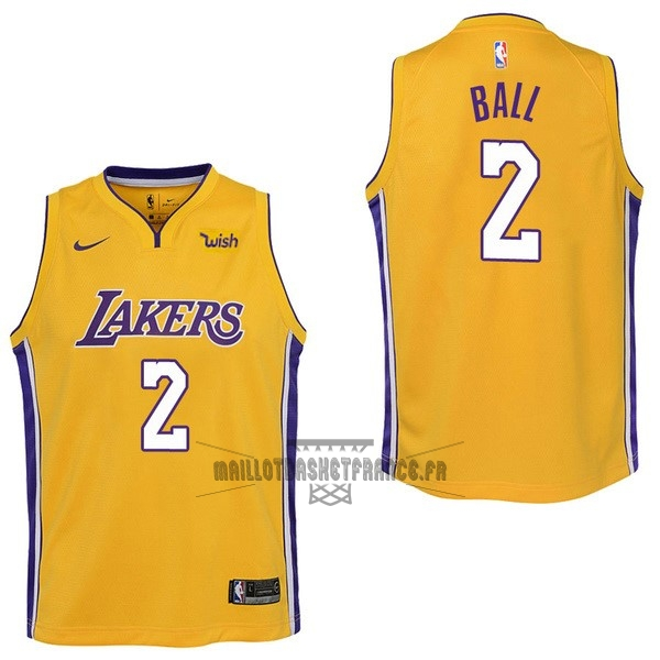 Meilleur Maillot NBA Enfant Los Angeles Lakers NO.2 Lonzo Ball Jaune 2017-18
