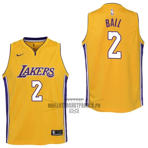 Meilleur Maillot NBA Enfant Los Angeles Lakers NO.2 Lonzo Ball Jaune Icon 2017-18