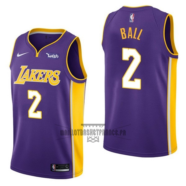 Meilleur Maillot NBA Enfant Los Angeles Lakers NO.2 Lonzo Ball Pourpre 2017-18
