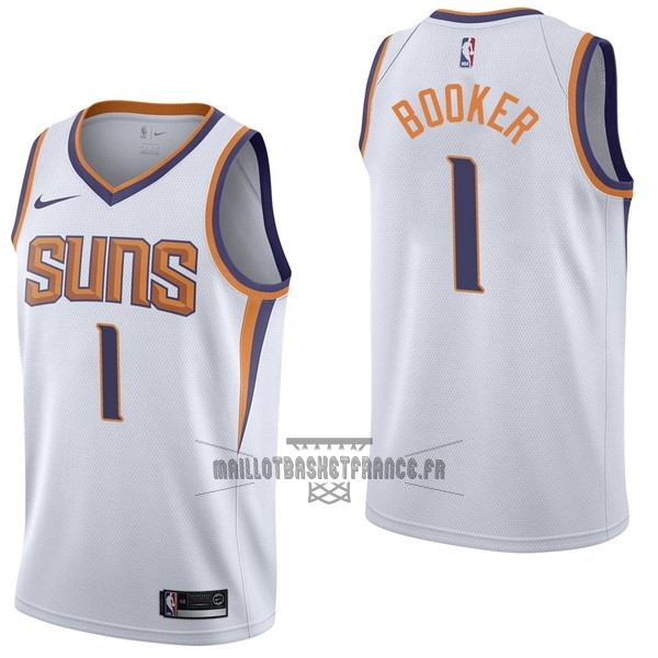 Meilleur Maillot NBA Enfant Phoenix Suns NO.1 Devin Booker Blanc Association 2017-18