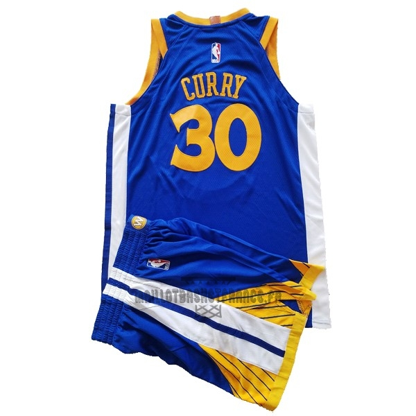 Meilleur Maillot NBA Ensemble Complet Enfant Golden State Warriors NO.30 Stephen Curry Bleu 2017-18