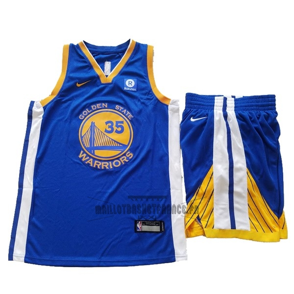 Meilleur Maillot NBA Ensemble Complet Enfant Golden State Warriors NO.35 Kevin Durant Bleu 2017-18