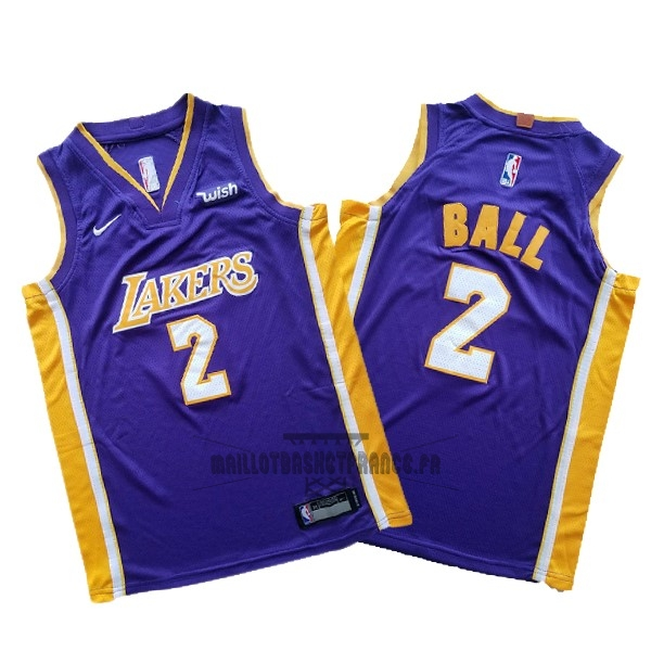 Meilleur Maillot NBA Ensemble Complet Enfant Los Angeles Lakers NO.2 Lonzo Ball Pourpre 2017-18