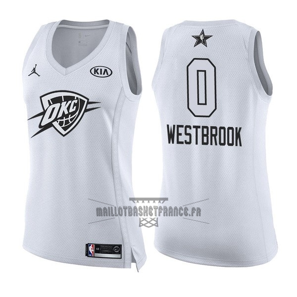 Meilleur Maillot NBA Femme 2018 All Star NO.0 Russell Westbrook Blanc