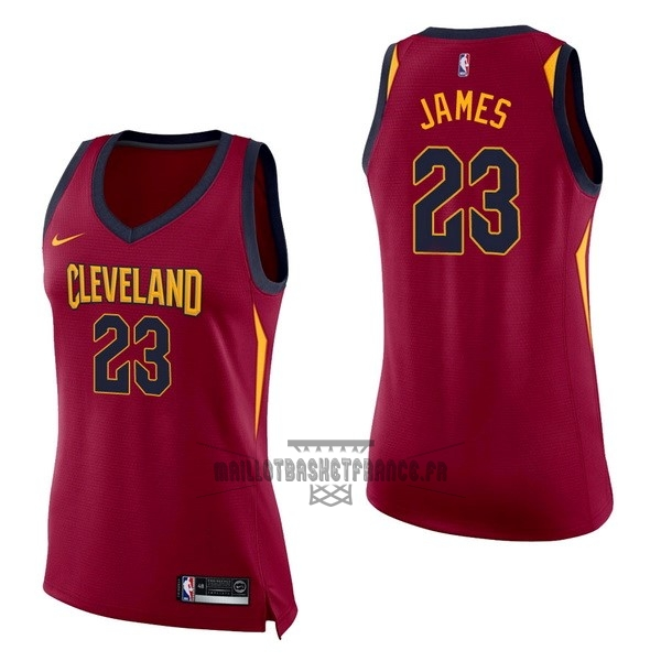 Meilleur Maillot NBA Femme Cleveland Cavaliers NO.23 LeBron James Rouge Icon