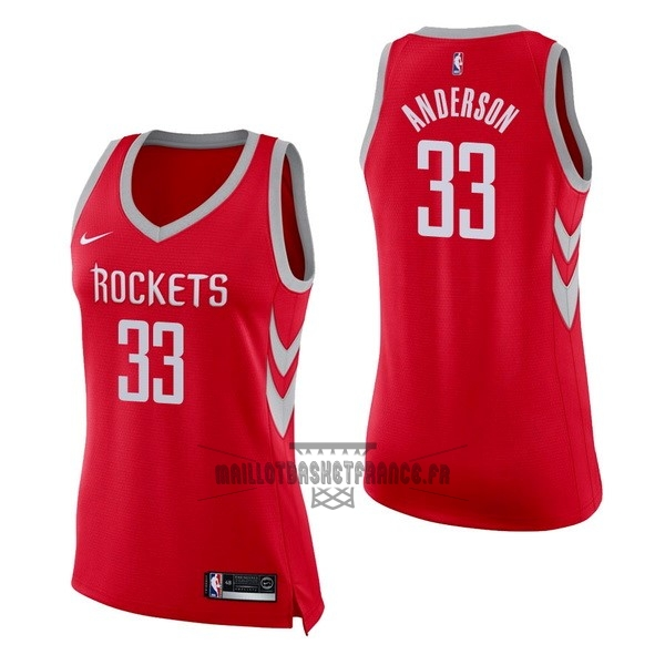 Meilleur Maillot NBA Femme Houston Rockets NO.33 Ryan Anderson Rouge Icon