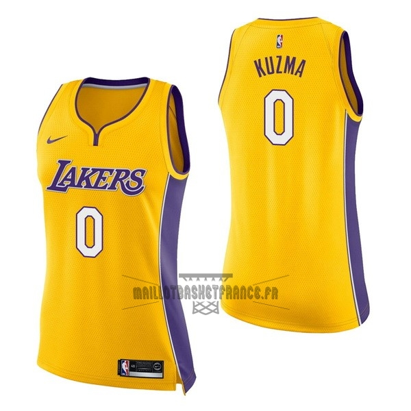 Meilleur Maillot NBA Femme Los Angeles Lakers NO.0 Kyle Kuzma Jaune Icon