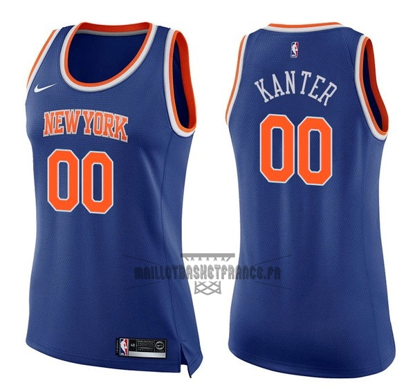 Meilleur Maillot NBA Femme New York Knicks NO.0 Enes Kanter Bleu Icon