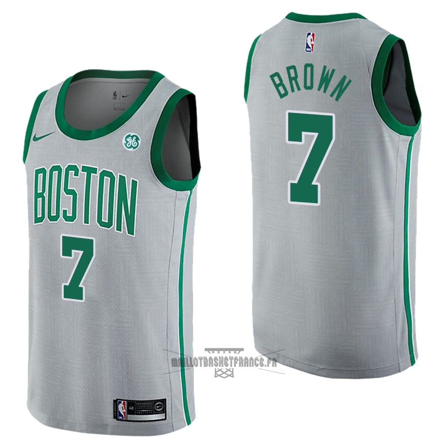 Meilleur Maillot NBA Nike Boston Celtics NO.7 Jaylen Brown Gris Ville