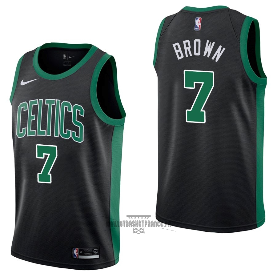 Meilleur Maillot NBA Nike Boston Celtics NO.7 Jaylen Brown Noir Statement