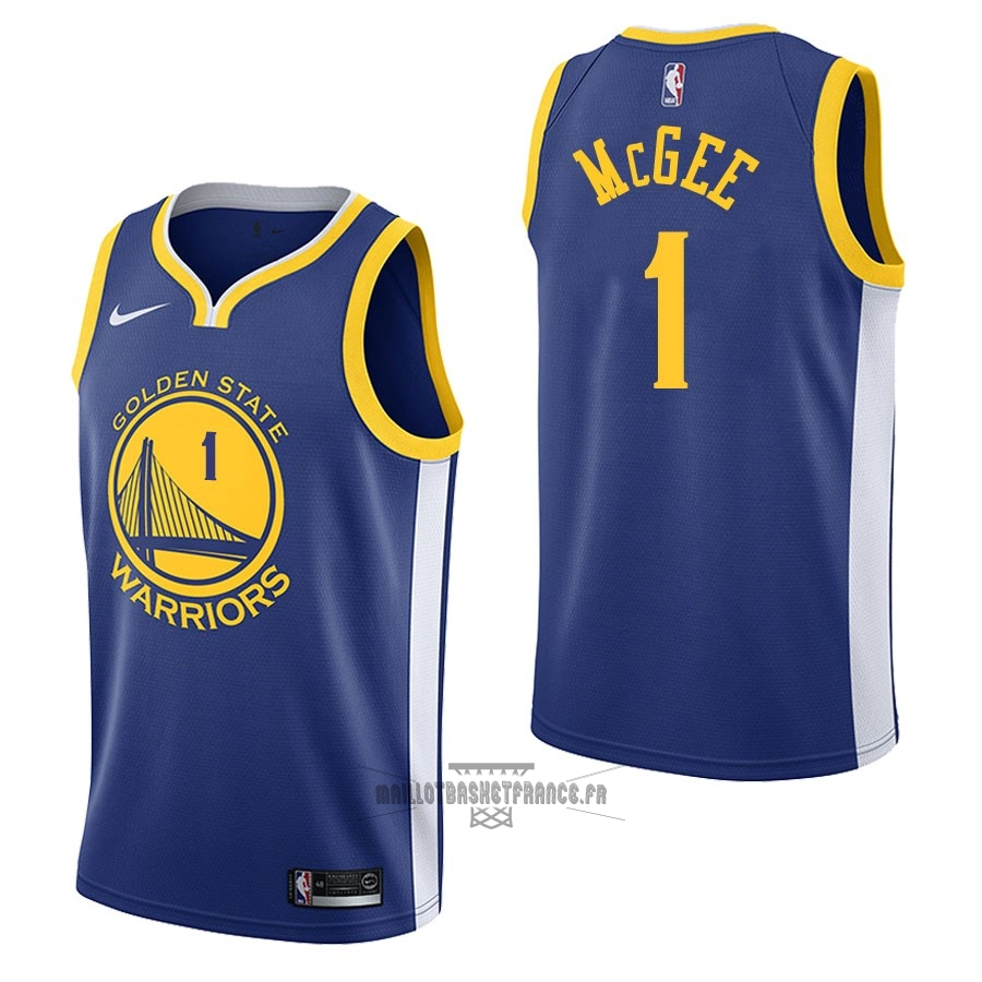 Meilleur Maillot NBA Nike Golden State Warriors NO.1 JaVale McGee Bleu Icon