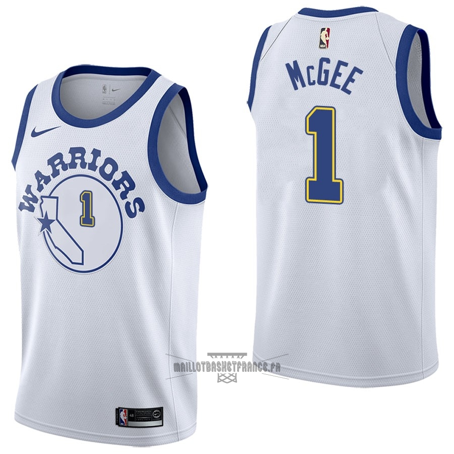 Meilleur Maillot NBA Nike Golden State Warriors NO.1 JaVale McGee Nike Retro Blanc