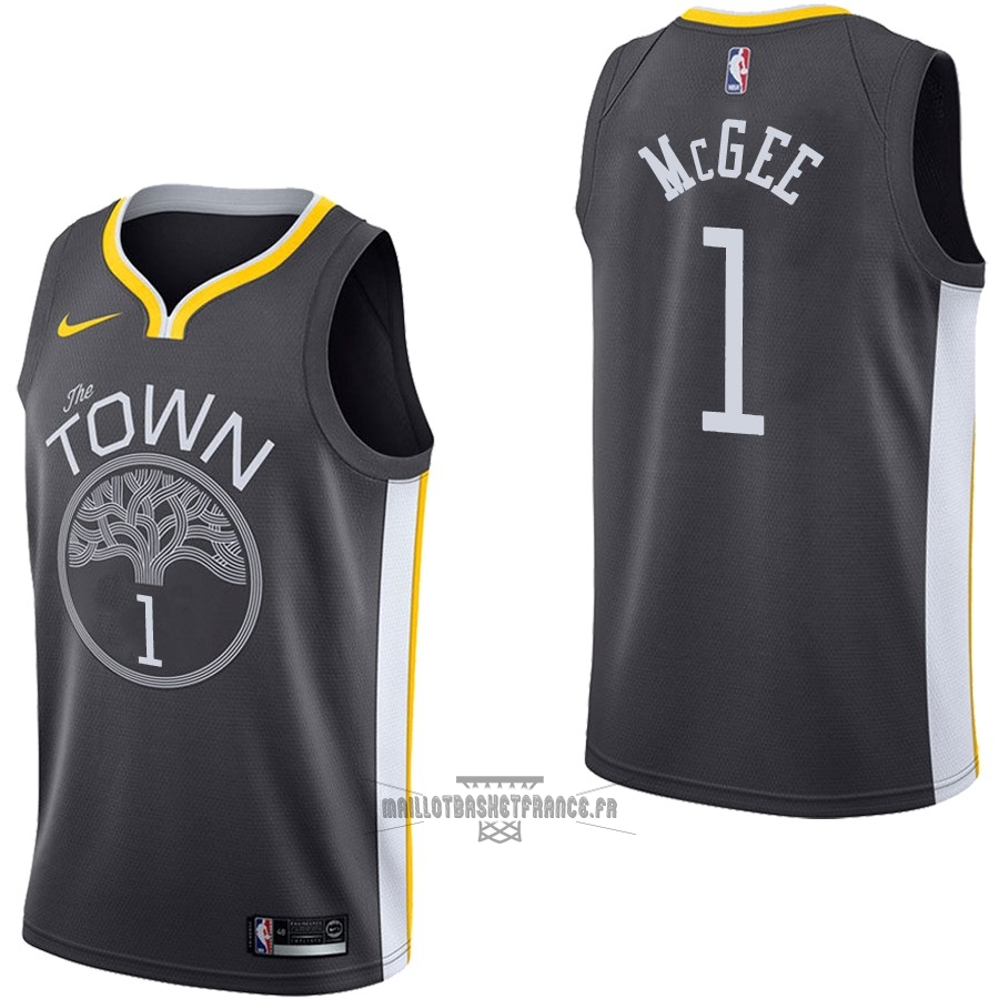 Meilleur Maillot NBA Nike Golden State Warriors NO.1 JaVale McGee Noir Statement