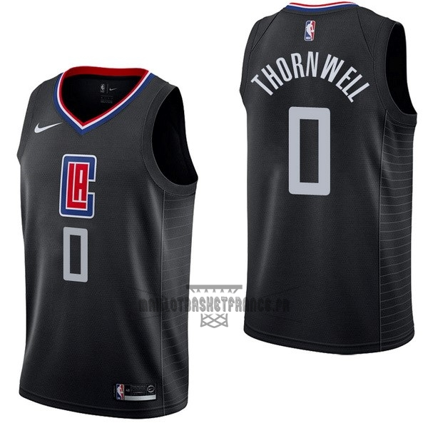 Meilleur Maillot NBA Nike Los Angeles Clippers NO.0 Sindarius Thornwell Noir Statement