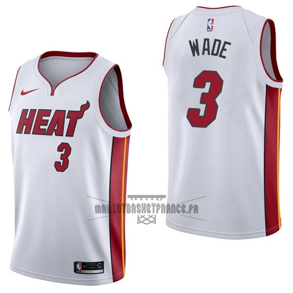 Meilleur Maillot NBA Nike Miami Heat NO.3 Dwyane Wade Blanc Association