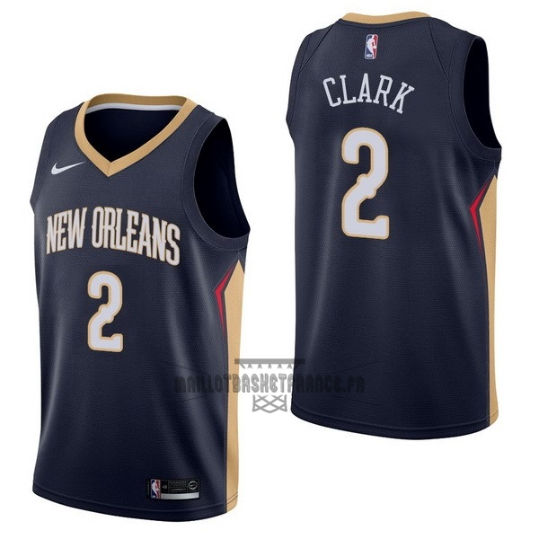 Meilleur Maillot NBA Nike New Orleans Pelicans NO.2 Ian Clark Marine Icon