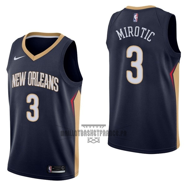 Meilleur Maillot NBA Nike New Orleans Pelicans NO.3 Nikola Mirotic Marine Icon