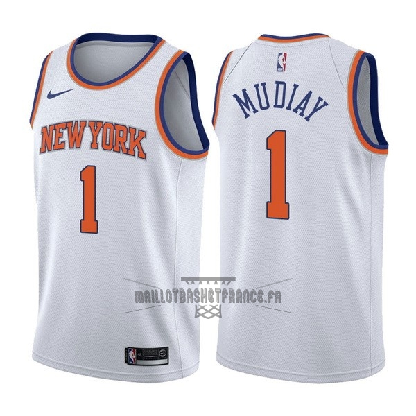 Meilleur Maillot NBA Nike New York Knicks NO.1 Emmanuel Mudiay Blanc Association