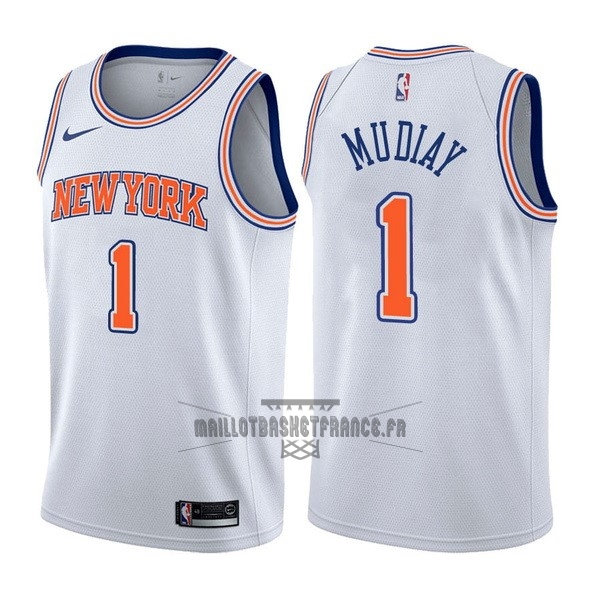 Meilleur Maillot NBA Nike New York Knicks NO.1 Emmanuel Mudiay Blanc Statement