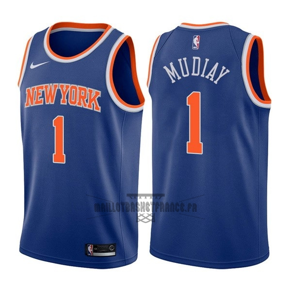 Meilleur Maillot NBA Nike New York Knicks NO.1 Emmanuel Mudiay Bleu Icon