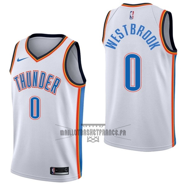 Meilleur Maillot NBA Nike Oklahoma City Thunder NO.0 Russell Westbrook Blanc Association