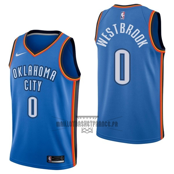 Meilleur Maillot NBA Nike Oklahoma City Thunder NO.0 Russell Westbrook Bleu Icon