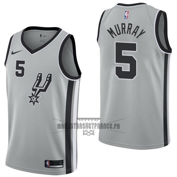 Meilleur Maillot NBA Nike San Antonio Spurs NO.5 Dejounte Murray Gris Statement