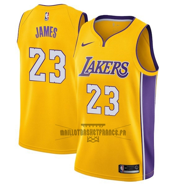 Meilleur Maillot NBA Enfant Los Angeles Lakers NO.23 LeBron James Jaune Icon 2017-18