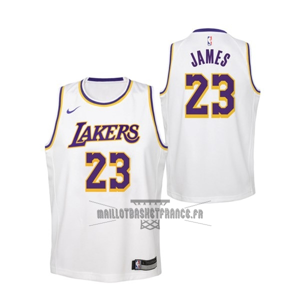 Meilleur Maillot NBA Enfant Los Angeles Lakers NO.23 Lebron James Blanc Association 2018-19