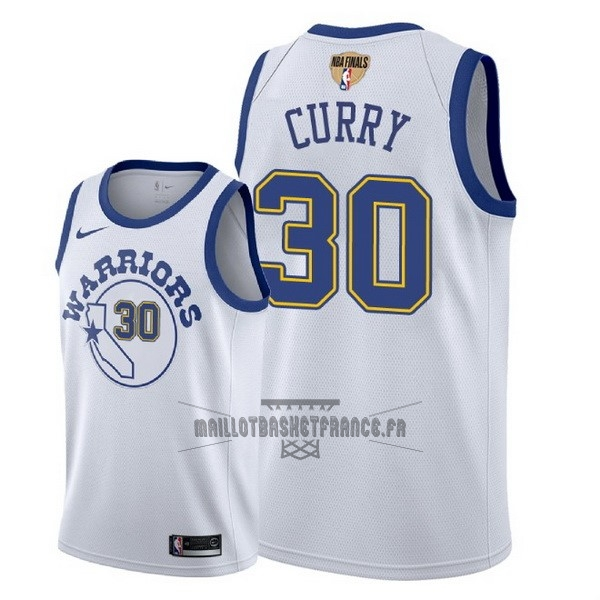 Meilleur Maillot NBA Golden State Warriors 2018 Final Champions NO.30 Stephen Curry Retro Blanc