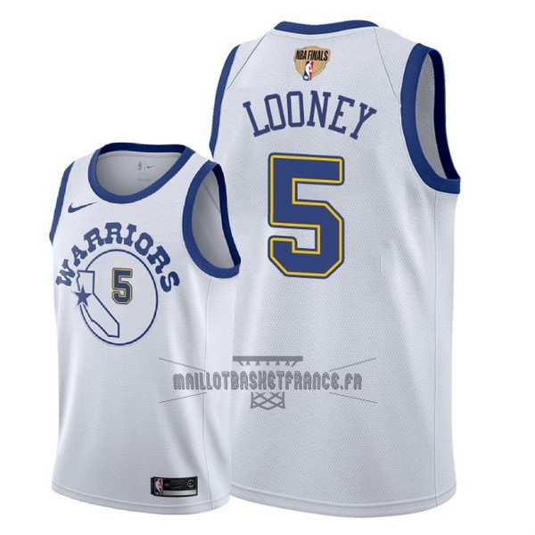 Meilleur Maillot NBA Golden State Warriors 2018 Final Champions NO.5 Kevon Looney Retro Blanc