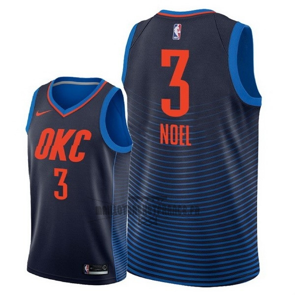 Meilleur Maillot NBA Nike Oklahoma City Thunder NO.3 Nerlens Noel Marine Statement 2018