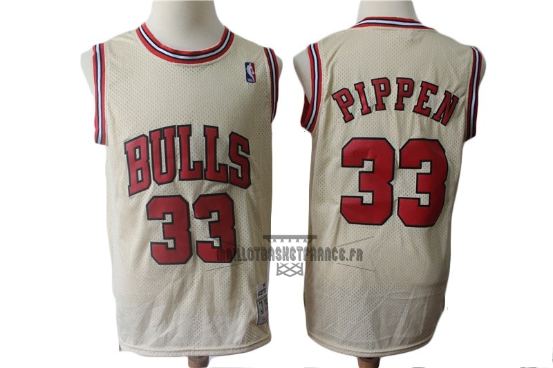 Meilleur Maillot NBA Chicago Bulls NO.33 Scottie Pippen Retro Crème