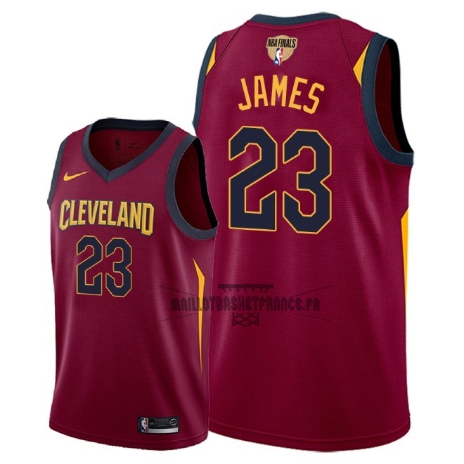 Meilleur Maillot NBA Cleveland Cavaliers 2018 Final Champions NO.23 LeBron James Rouge Icon Patch