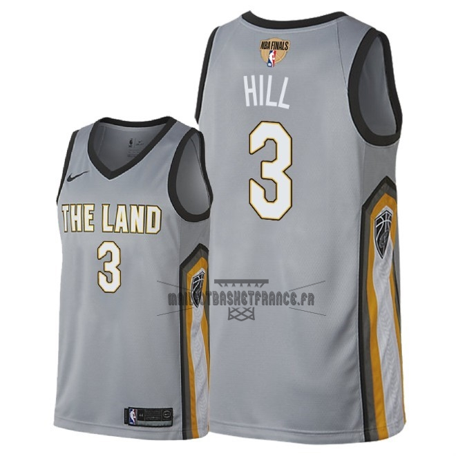 Meilleur Maillot NBA Cleveland Cavaliers 2018 Final Champions NO.3 George Hill Nike Gris Ville Patch