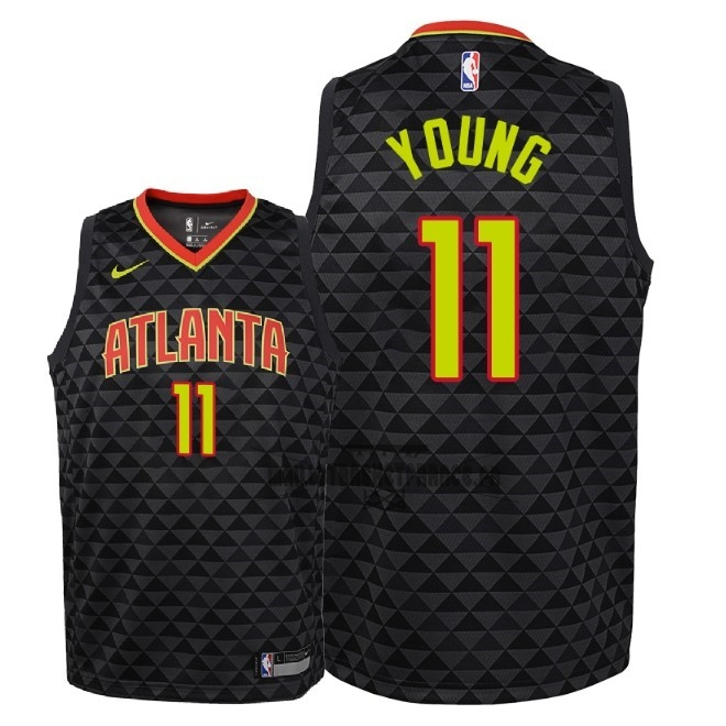Meilleur Maillot NBA Enfant Atlanta Hawks NO.11 Trae Young Noir Icon 2018-19