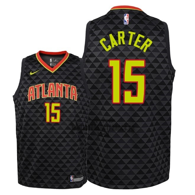 Meilleur Maillot NBA Enfant Atlanta Hawks NO.15 Vince Carter Noir Icon 2018-19