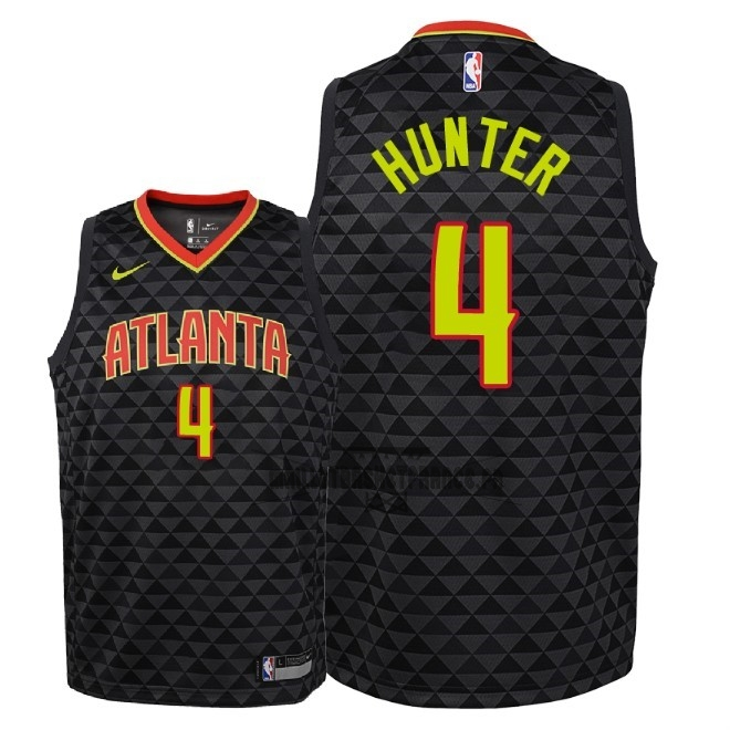 Meilleur Maillot NBA Enfant Atlanta Hawks NO.4 R.J. Hunter Noir Icon 2018-19