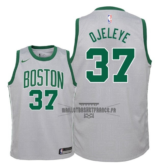 Meilleur Maillot NBA Enfant Boston Celtics NO.37 Semi Ojeleye Nike Gris Ville 2018