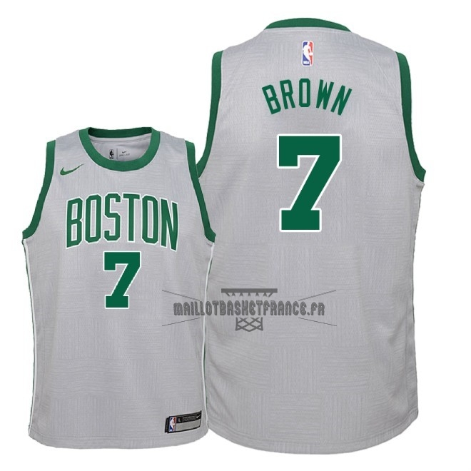 Meilleur Maillot NBA Enfant Boston Celtics NO.7 Jaylen Brown Nike Gris Ville 2018