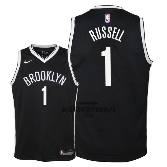 Meilleur Maillot NBA Enfant Brooklyn Nets NO.1 D'Angelo Russell Noir Icon 2018