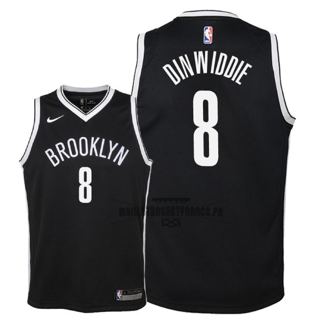 Meilleur Maillot NBA Enfant Brooklyn Nets NO.8 Spencer Dinwiddie Noir Icon 2018