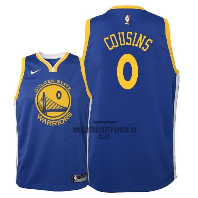 Meilleur Maillot NBA Enfant Golden State Warriors NO.0 DeMarcus Cousins Bleu Icon 2018